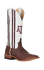 Horse Power Men's Texas A&M Brown with White and Maroon Stripes Wide Square Toe Western Boots