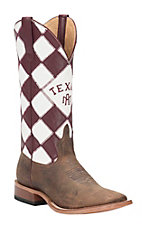 Horse Power Men's Toast Bison with Texas A&M Patchwork Top Square Toe Western Boots