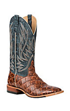 Anderson Bean Horse Power Men's Cognac Filet of Fish Print with Seas the Day Upper Western Wide Square Toe Boots