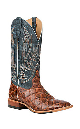 Horse Power Men's Blue and Cognac Fish Print Double Welt Wide Square Toe Cowboy Boots