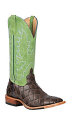 Anderson Bean Horse Power Men's Chocolate Filet of Fish Print with Kiwi Sinsation Upper Western Wide Square Toe Boots