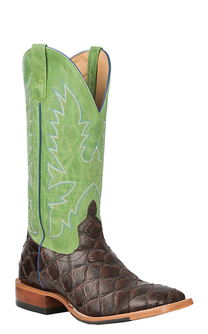 8d06fd836cc Horse Power Men's Chocolate Filet of Fish Print with Kiwi Sinsation Upper  Western Wide Square Toe Boots