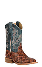 Horse Power Youth Cognac Fish Print with Seas the Day Upper Western Wide Square Toe Boots