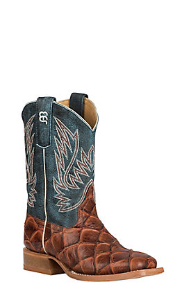 Anderson Bean Youth Horse Power Cognac Fish Print and Green Wide Square Toe Western Boot