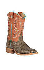 Anderson Bean Youth Tobacco Caiman Print with Cinnamon Toast Upper Western Square Toe Boots