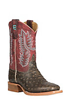 Anderson Bean Youth Tobacco Impostrich with a Crazy Cranberry Upper Western Wide Square Toe Boots