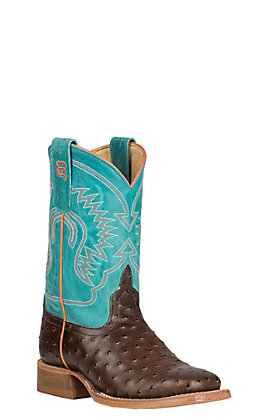Horse Power Youth Chocolate Impostrich with Turquoise Sinsation Upper Western Wide Square Toe Boots