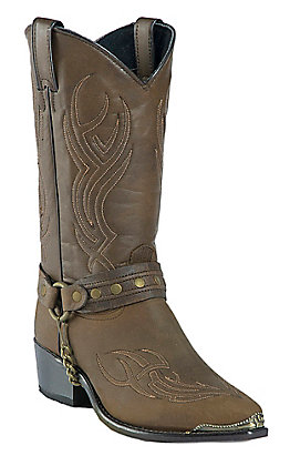 Sage Men's Distressed Brown with Fancy Stitch & Harness Western Snip Toe Boots