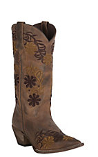 Abilene Womens Vintage Brown with Two Tone Floral Embroidery Snip Toe Western Boots