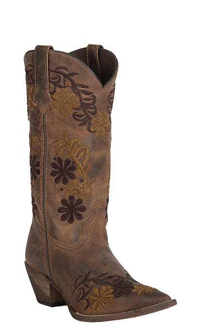 8ef616f4fca Abilene Women's Vintage Brown with Two Tone Floral Embroidery J-Toe Western  Boots