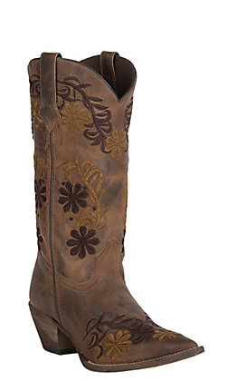 Abilene Women's Vintage Brown with Two Tone Floral Embroidery J-Toe Western Boots