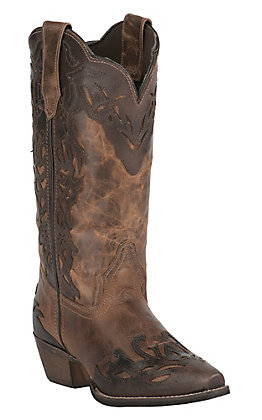 Abilene Womens Vintage Tan with Brown Overlay Snip Toe Western Boots