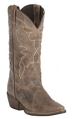 Abilene Women's Earth Brown with Stud Embellishment Snip Toe Western Boots