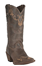 Abilene Womens Vintage Brown with Tan Vine Embroidery Snip Toe Western Boots