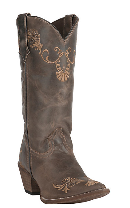 9aed18971bd Abilene Women's Vintage Brown with Tan Vine Embroidery Snip Toe Western  Boots