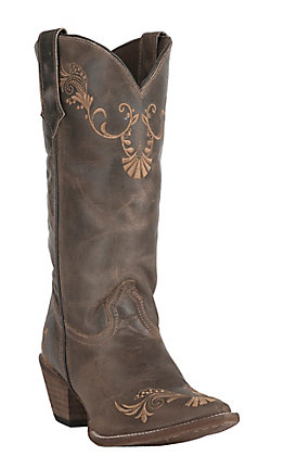 Abilene Women's Vintage Brown with Tan Vine Embroidery Snip Toe Western Boots