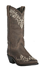 Abilene Womens Vintage Ash Grey Brown with Cream Floral Embroidery Snip Toe Western Boots