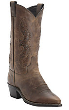 Abilene Womens Brown Vintage w/Tooled Inlay on Top Snip Toe Western Boots