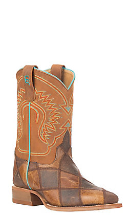 Anderson Bean Kids' Brown & Tan Patchwork Square Toe Western Boots