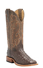 Anderson Bean Kids Chocolate Croc Print Square Toe Western Boots