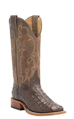 1290c87c3 Anderson Bean Kids Chocolate Croc Print Square Toe Western Boots