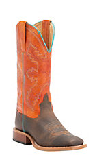 Anderson Bean Kids Distressed Bison with Tangerine Marfalous Square Toe Western Boots
