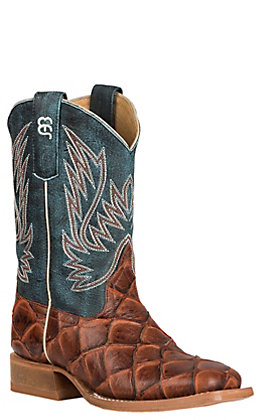 Anderson Bean Kids Horse Power Cognac Fish Print and Green Wide Square Toe Western Boot