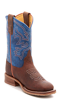 Anderson Bean Youth Blue Mad Dog Brown Western Square Toe Boots