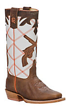 XKH Anderson Bean Kids Brown Bison w/ Pistols on White Diamond Top Square Toe Boots