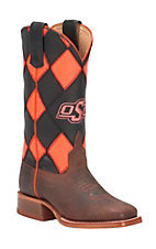 Anderson Bean Kid's Toast Bison w/ Black & Neon Orange OSU Top Double Welt Square Toe Western Boots