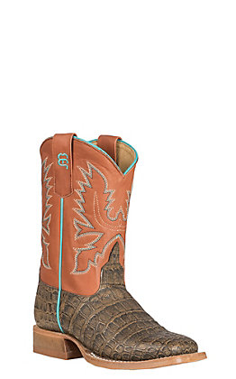 Anderson Bean Kids' Tobacco Caiman Print with Cinnamon Toast Upper Western Square Toe Boots