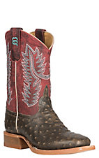 Anderson Bean Kids' Tobacco Impostrich with a Crazy Cranberry Upper Western Wide Square Toe Boots