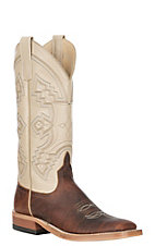 Anderson Bean Women's Chocolate American Bison with Chanel Kidskin Wide Square Toe Western Boot