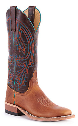 Anderson Bean Women's Tobacco Yeti with Brass Explosion Wide Square Toe Western Boot