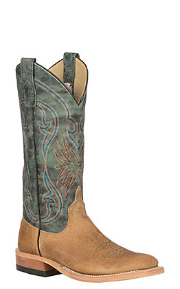 Anderson Bean Women's Distressed American Bison with Aqua Monet Wide Square Toe Western Boot