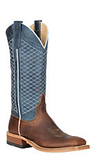 Anderson Bean Women's Mike Tyson Bison w/ Blue Lava Wide Square Toe Western Boots