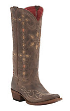 Anderson Bean Women's Distressed Brown with Floral Inlay Round Toe Western Boots