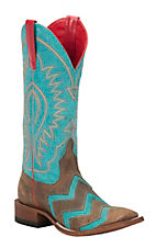 Anderson Bean Macie Bean Women's Toast Bison & Turquoise Chevron Inlay Double Welt Square Toe Western Boots