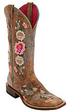 Macie Bean Women's Antiqued Honey Brown w/ Rose Garden Embroidery Square Toe Boots