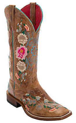Macie Bean Women's Antiqued Honey Brown with Rose Garden Embroidery Square Toe Boots