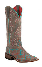 Anderson Bean Macie Bean Brown Mad Dog with Turquoise Diamond Embroidery Square Toe Boots