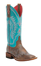 Anderson Bean Macie Bean Women's Tan w/ Turquoise Sensation Top Square Toe Boots