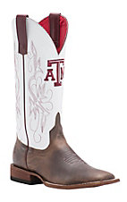 Macie Bean Women's Toast Bison White TAMU Western Square Toe Boots