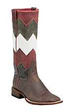 Anderson Bean Macie Bean Women's Chocolate w/ Chevron Stove Pipe Top Square Toe Boots