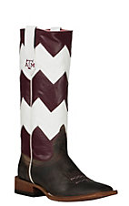 Macie Bean Women's Toast Bison Maroon & White Chevron TAMU Western Square Toe Boot