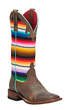 Anderson Bean Macie Bean Women's Toast Bison with Serape Top Square Toe Boots