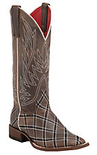 Macie Bean Women's Chocolate with Diamond Stitch Embroidery Square Toe Boots