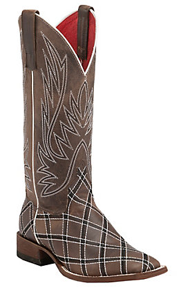 Anderson Bean Women's Macie Bean Chocolate with Diamond Stitch Embroidery Square Toe Boots