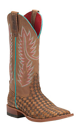 Anderson Bean Women's Macie Bean Toast and Honey Woven Square Toe Western Boots