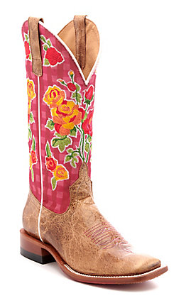 Anderson Bean Women's Macie Bean Boxy Lady Tan with Pink Gingham and Floral Embroidery Square Toe Western Boots
